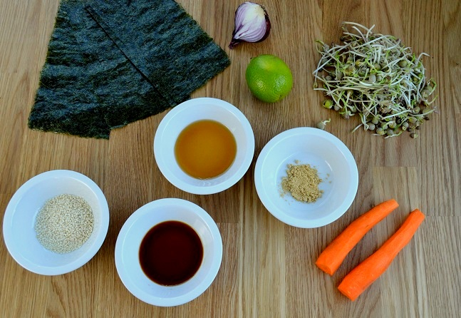 Cornets japonais algues nori et graines germées